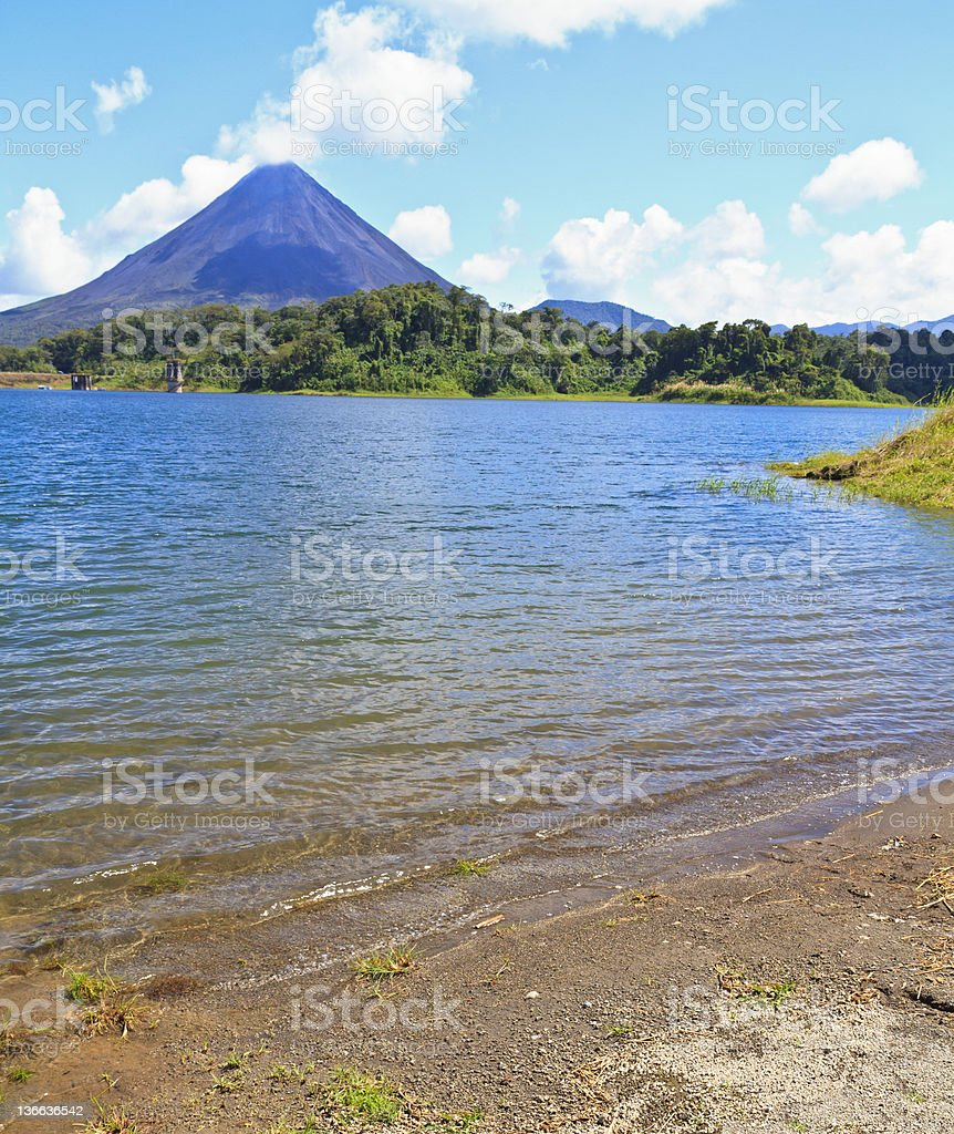Volcano and Lake Arenal Beach stock photo