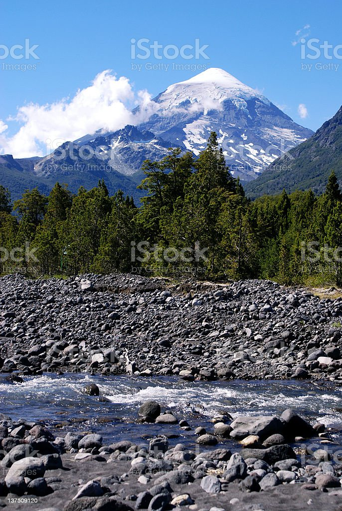 Volcano and River royalty-free stock photo