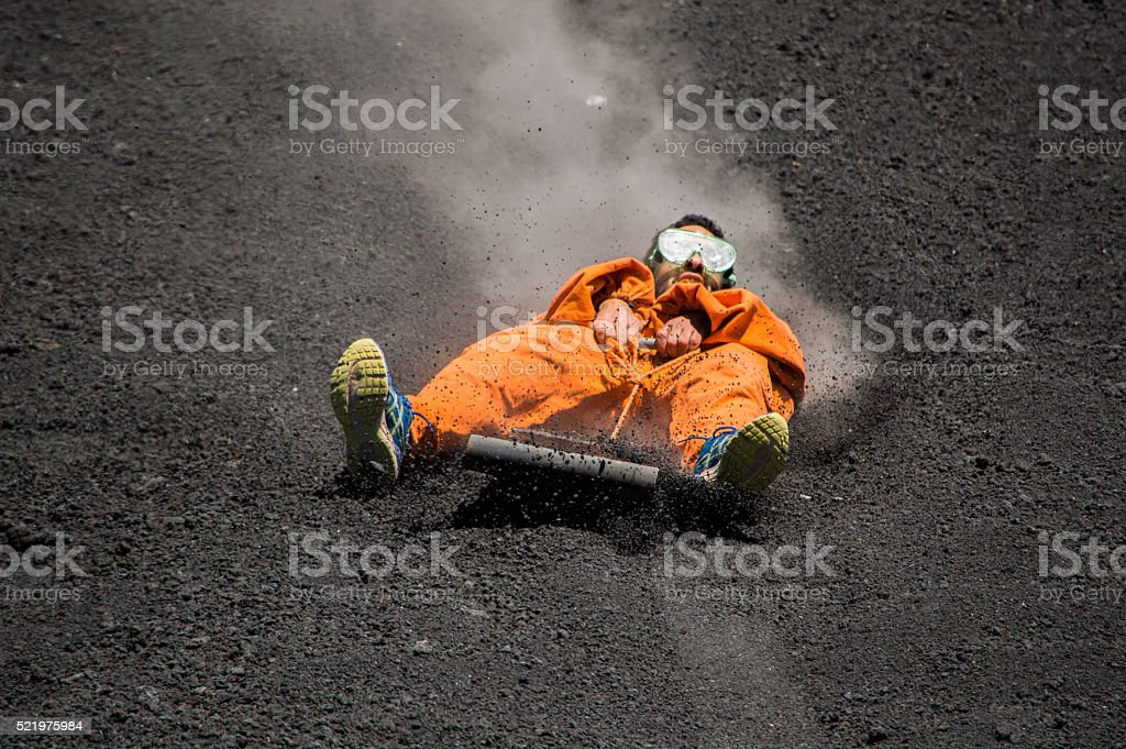 Volcano boarding stock photo