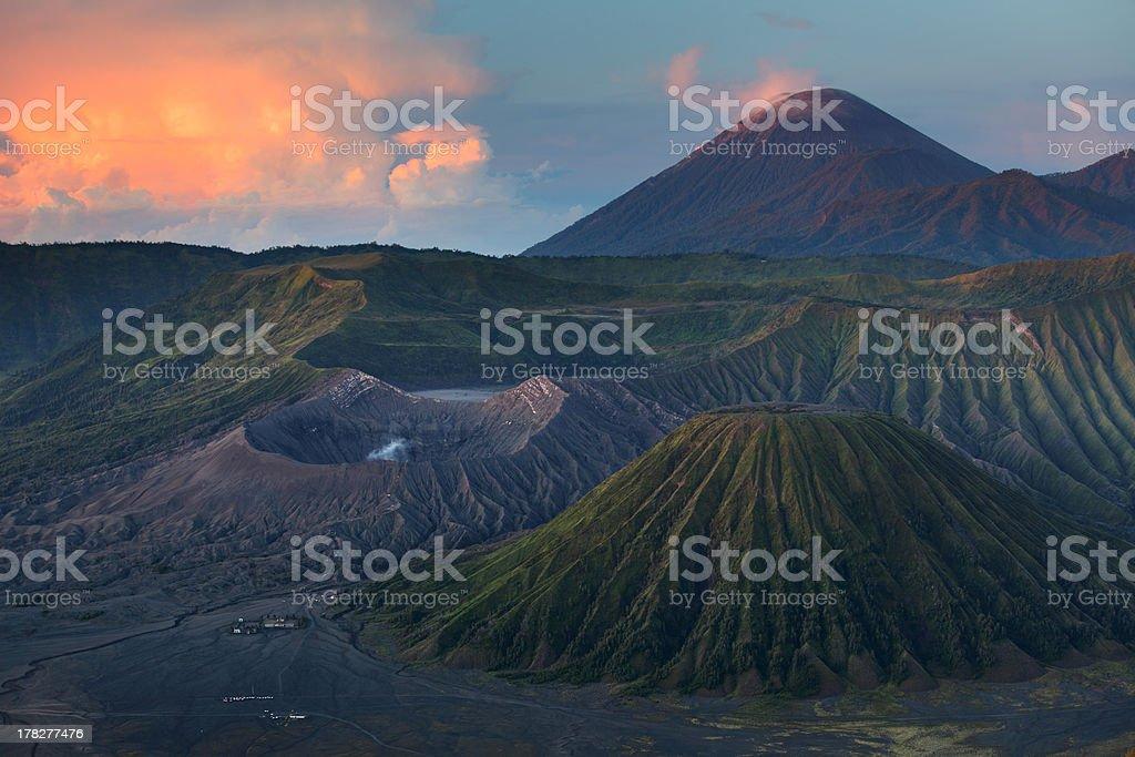 Volcano Bromo at sunrise stock photo