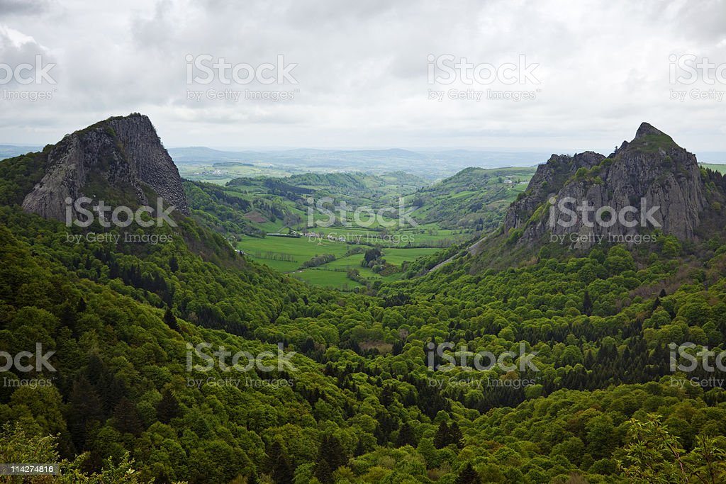 volcano crater in the auvergne stock photo