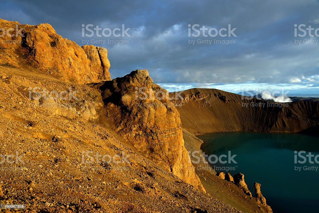 Volcano Crater near Landmannalaugar stock photo
