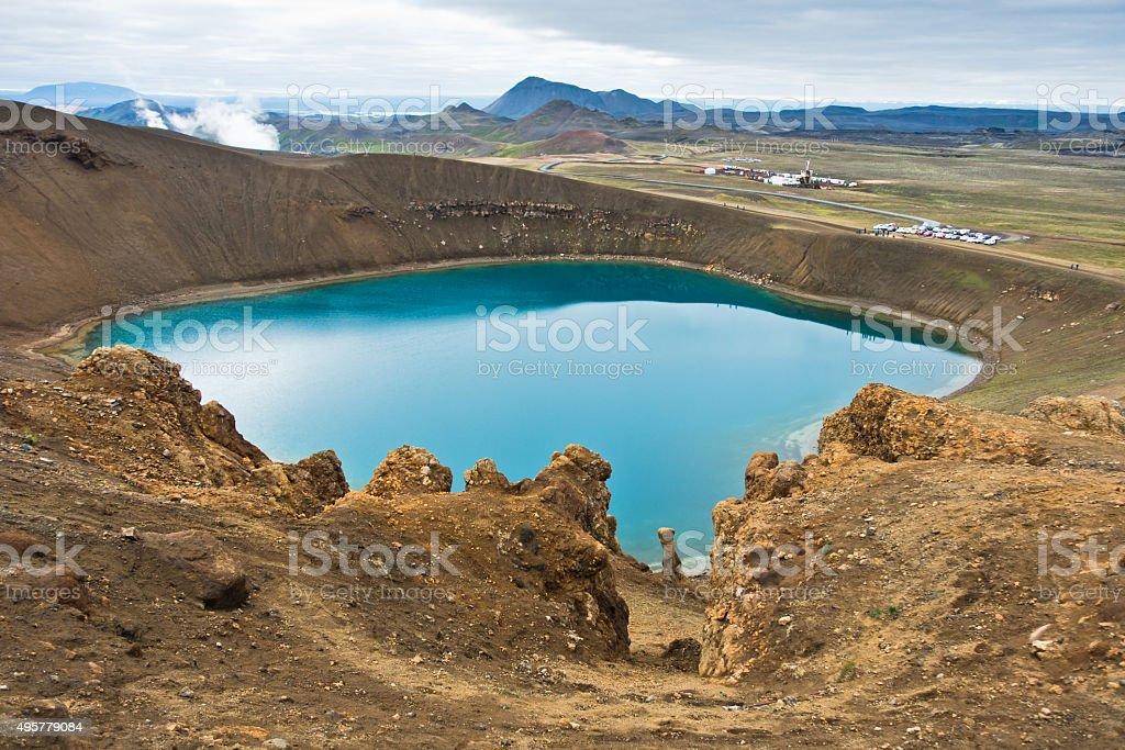 Volcano crater Viti with lake inside at Krafla volcanic area stock photo