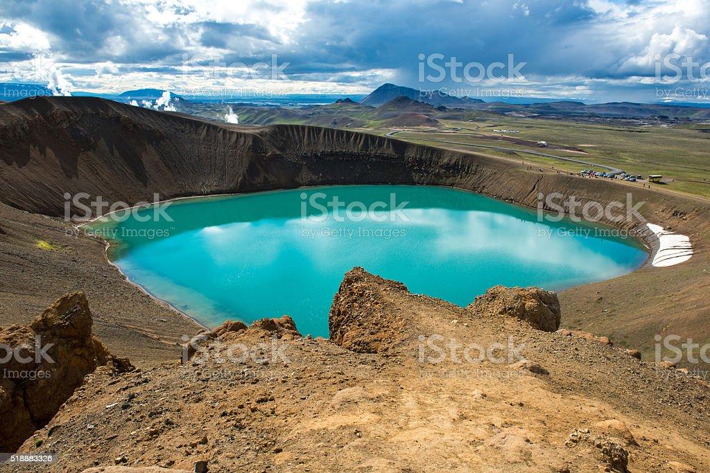 Volcano crater Viti with turquoise lake, Krafla volcanic area, Iceland stock photo
