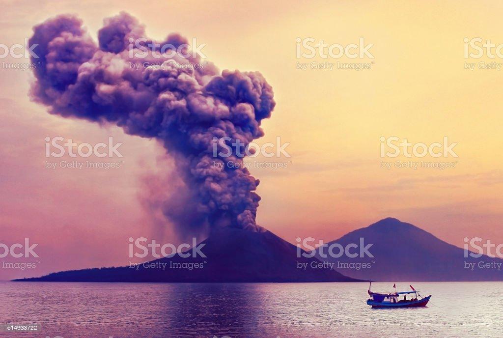 Volcano eruption. Anak Krakatau, Indonesia stock photo