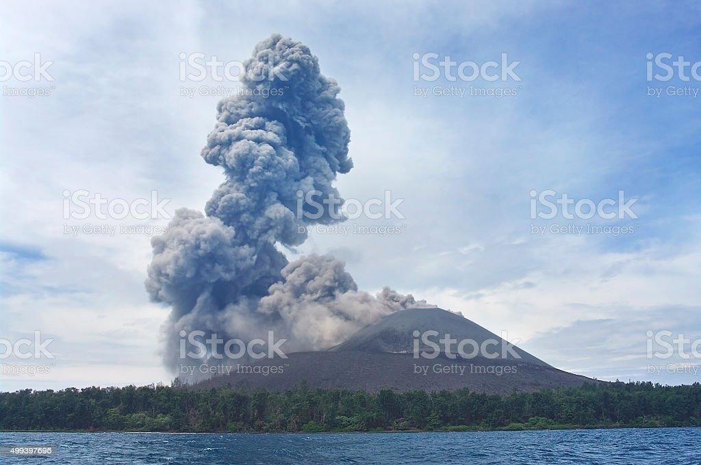 Volcano eruption. Anak Krakatau stock photo