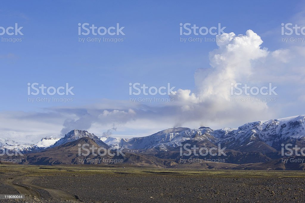 Volcano Eruption in Iceland stock photo