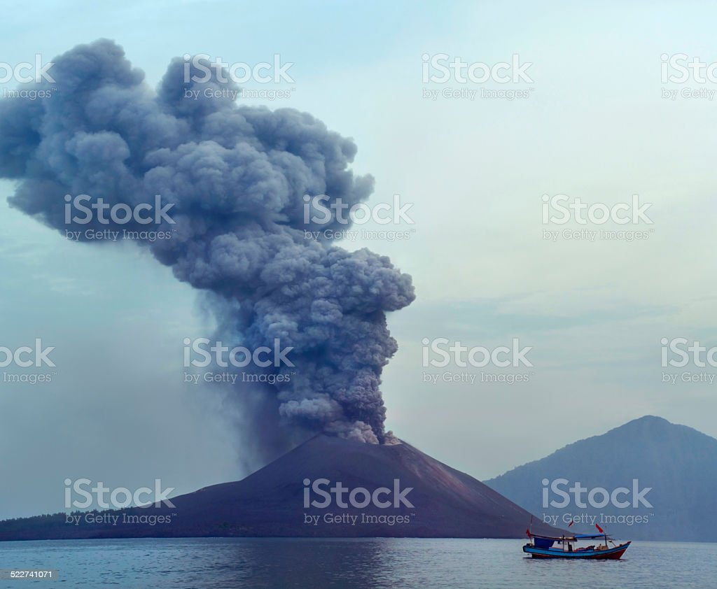 Volcano eruption.  Krakatau stock photo