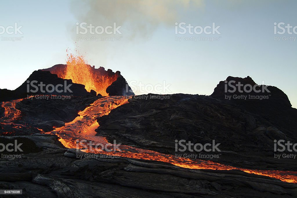 volcano eruption stock photo