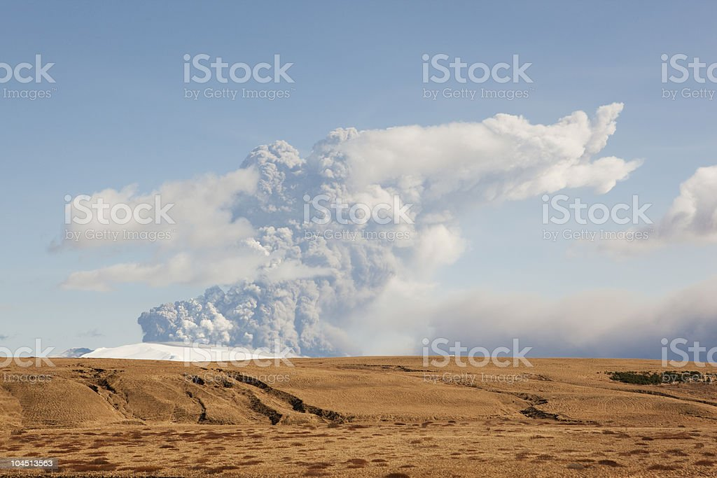 Volcano Eruption pounding up ash to Europe stock photo