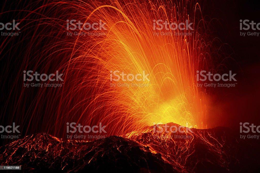 volcano eruption / Stromboli / Italy royalty-free stock photo