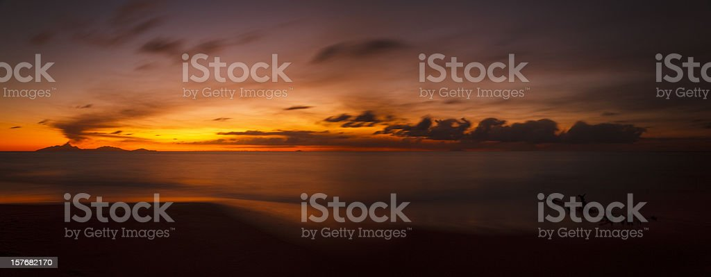 Volcano Eruption Sunset Panorama stock photo
