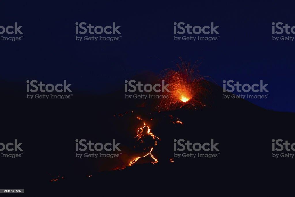 Volcano Etna, sicily, Italy 08/2014 stock photo