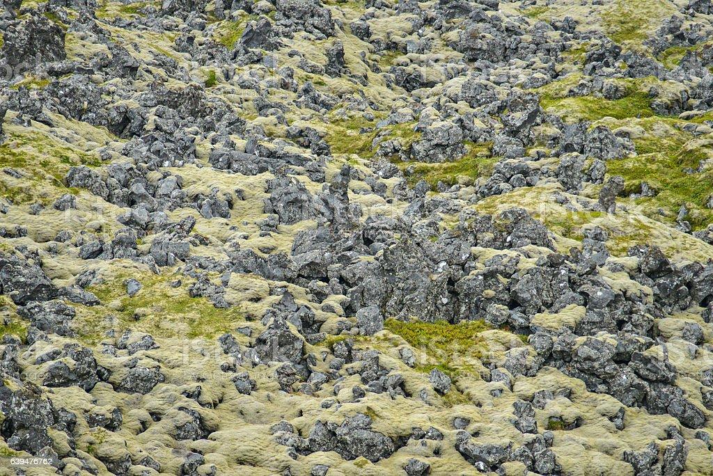volcano field in iceland stock photo