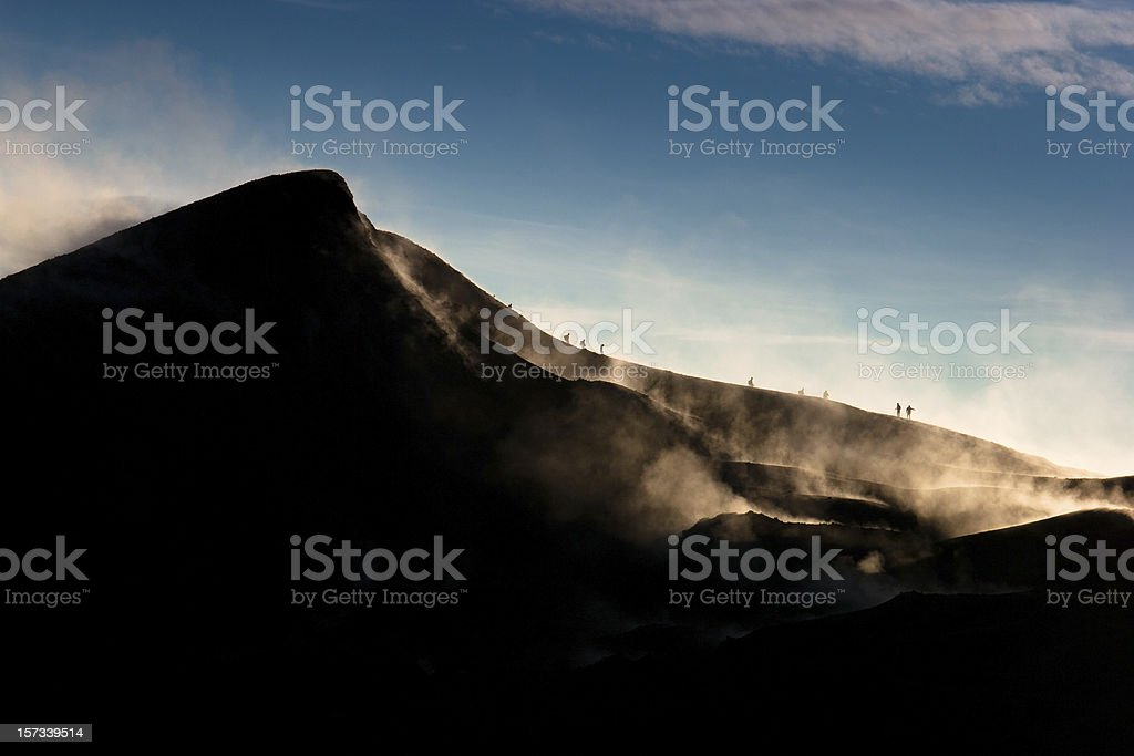 Volcano hiking stock photo