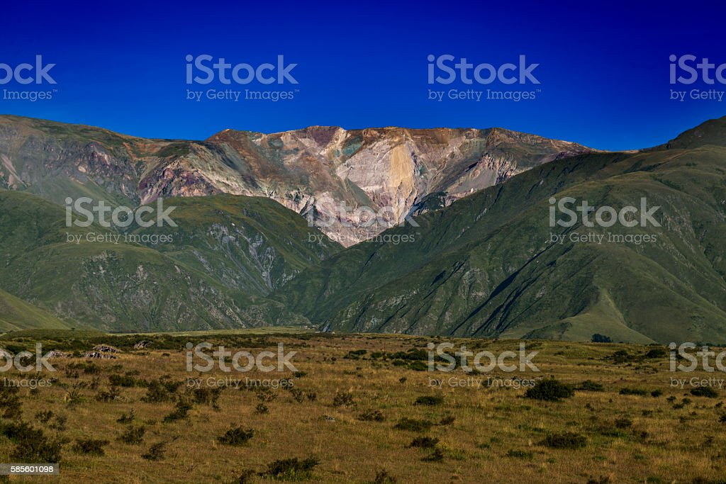 Volcano hill in Humahuaca, World Heritage Site by UNESCO, Jujuy, stock photo