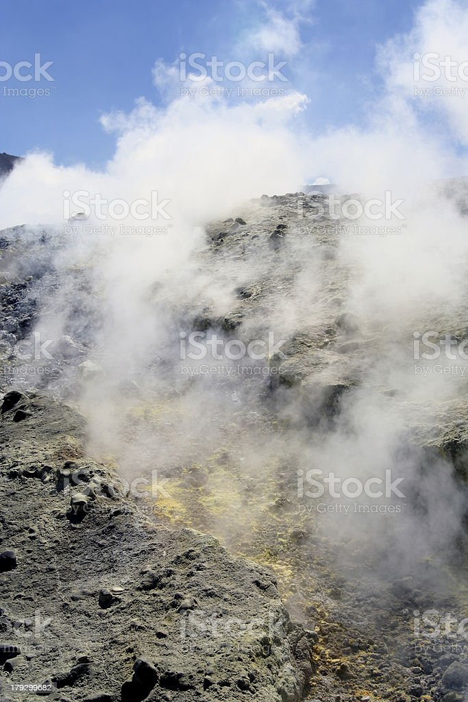 Volcano in Aeolian Islands at summer royalty-free stock photo