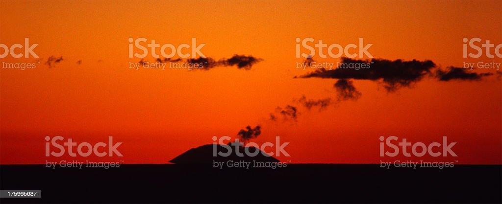 Volcano Island at sunset royalty-free stock photo