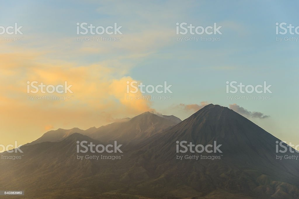 Volcano island sunset stock photo