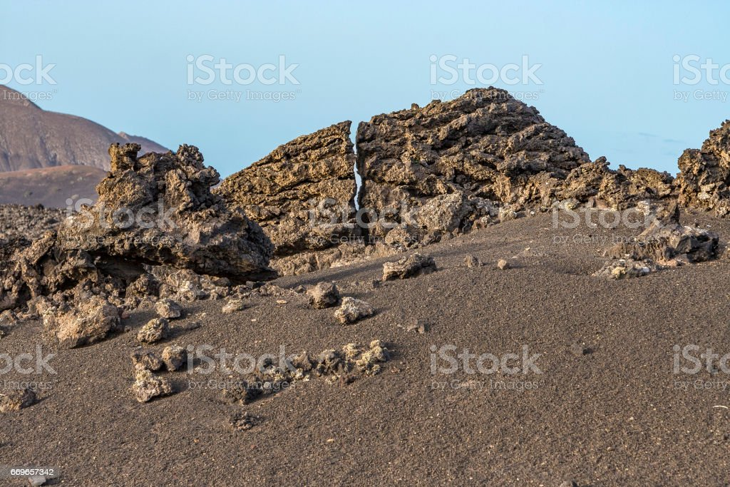 volcano landscape at sunset stock photo