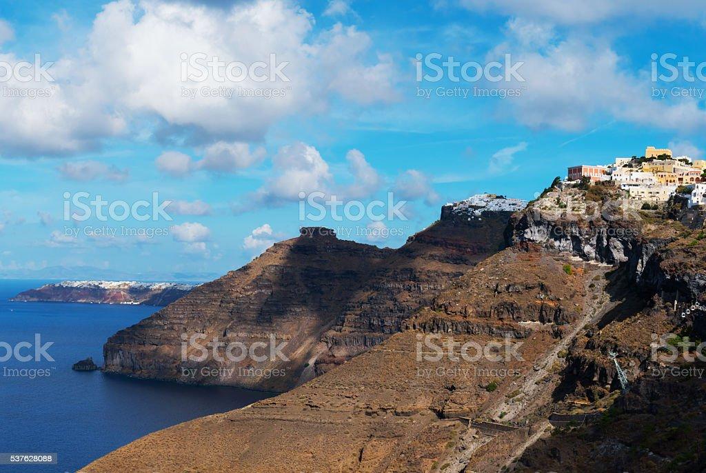 Volcano landscape of Santorini, Greece stock photo