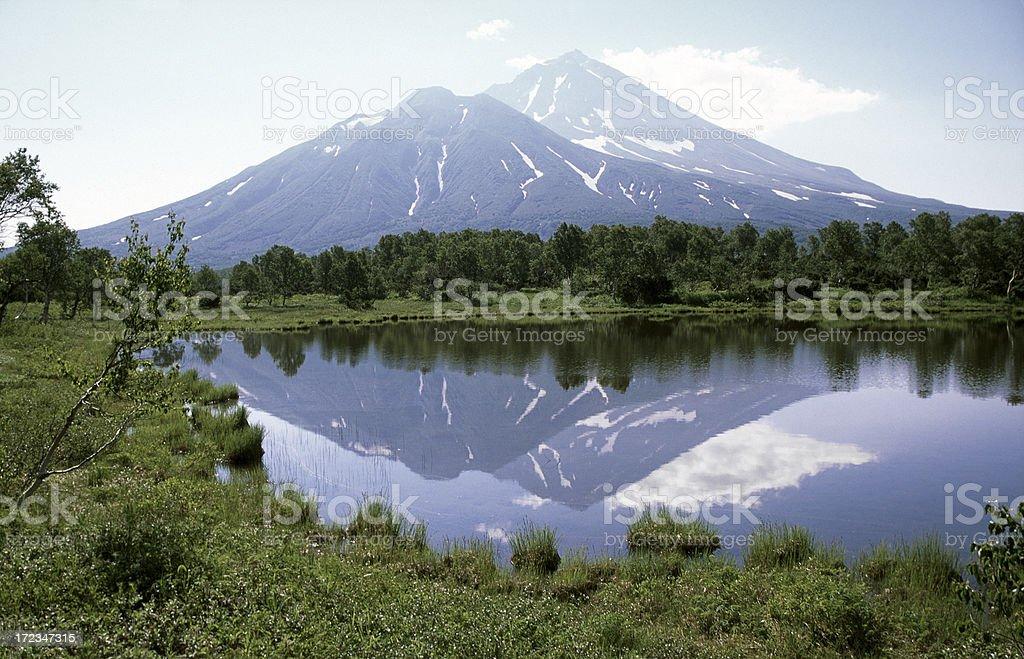 Volcano mirrored in lake (the Chodutka) royalty-free stock photo