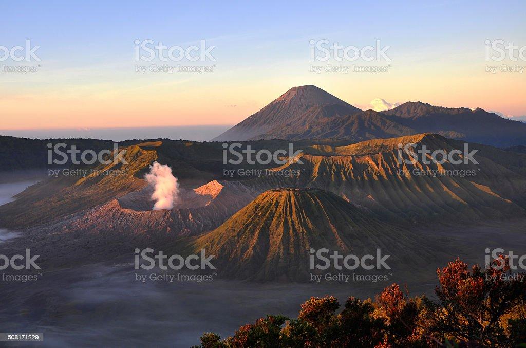 Volcano Mount Bromo at sunrise, East Java, Indonesia, Asia stock photo