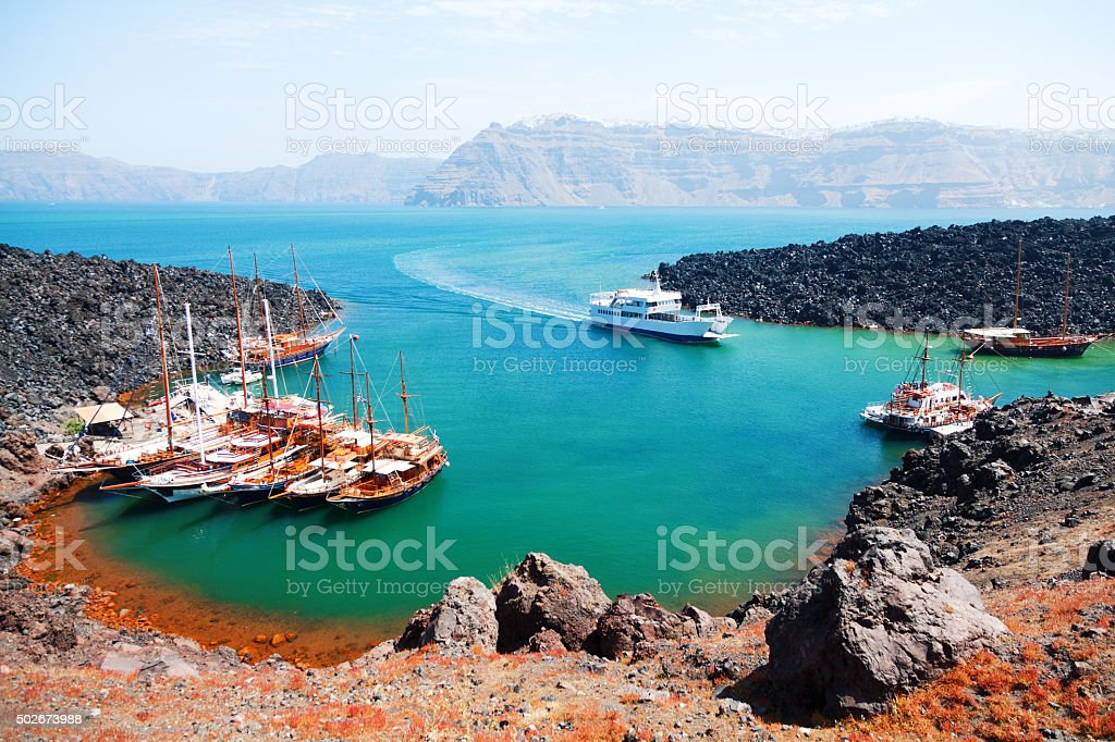 Volcano of Santorini stock photo