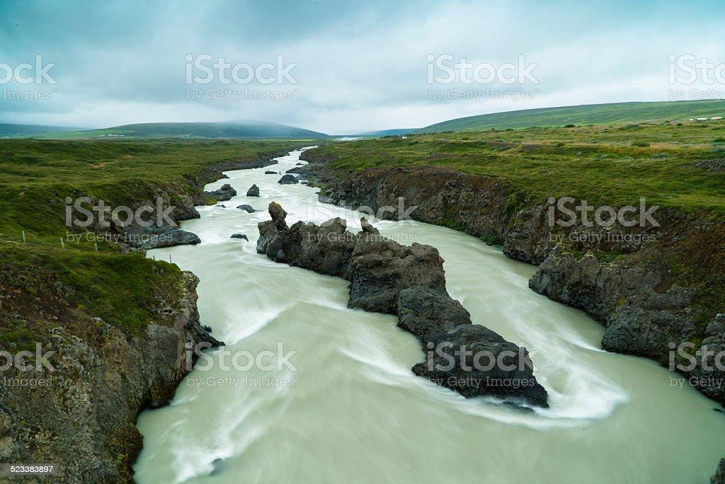 Volcano Rocks in Godafoss river stock photo