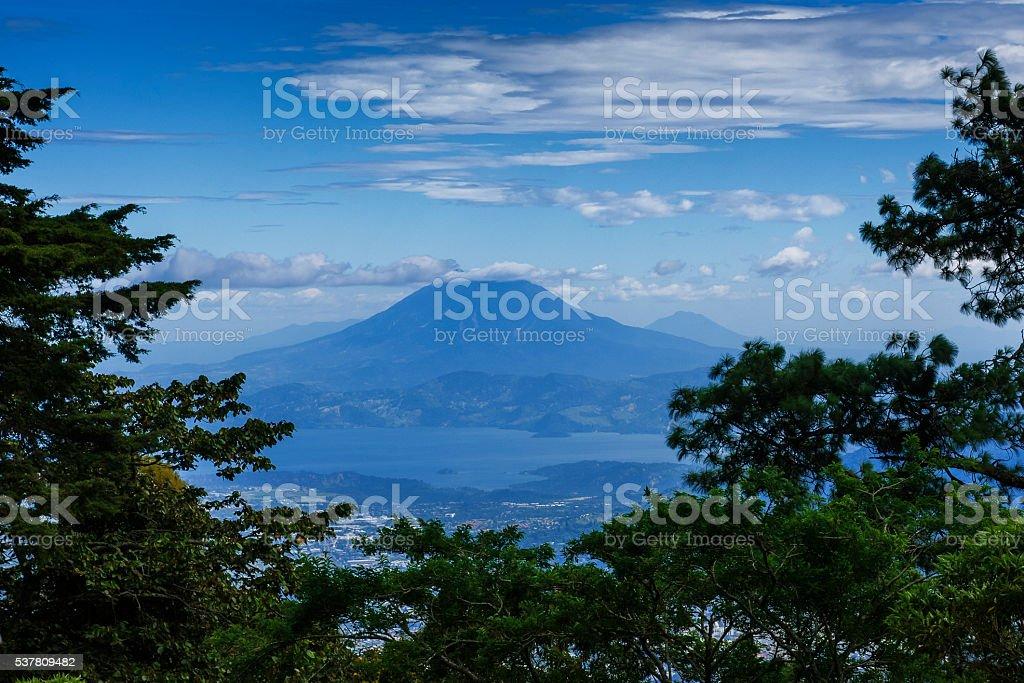 Volcano San Vicente and Lake Ilopango stock photo