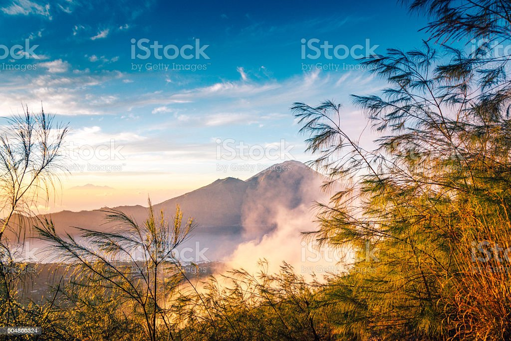 Volcano scenery at sunrise, Bali stock photo