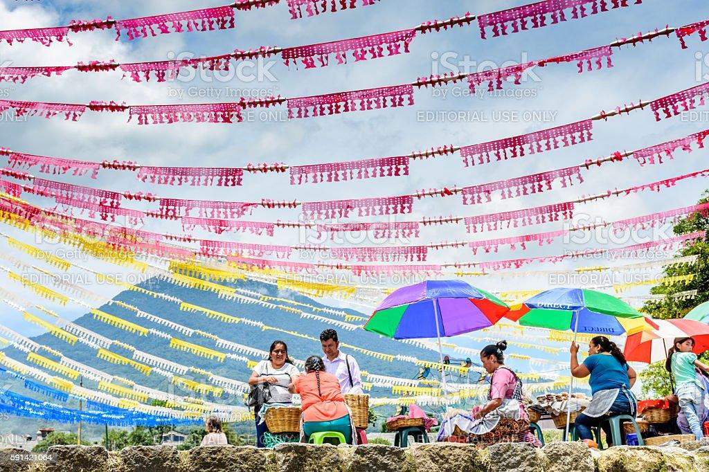 Volcano & St John's Day colors, Guatemala stock photo