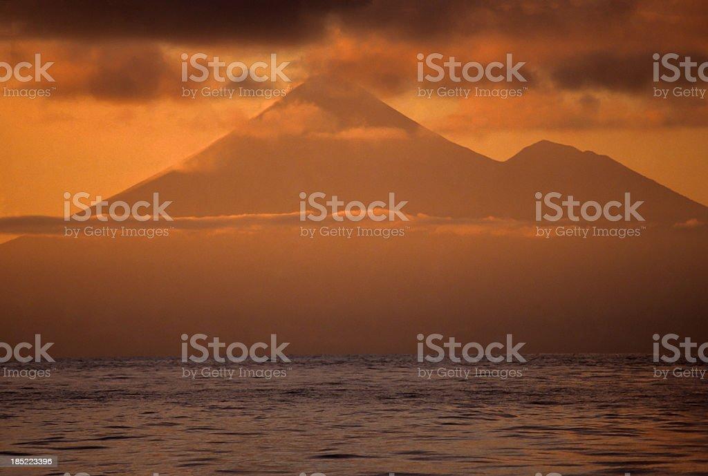 Volcano Sunset stock photo
