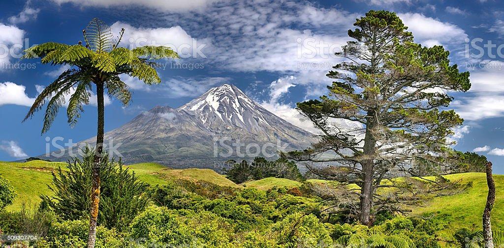 Volcano Taranaki, New Zealand - HDR panorama stock photo