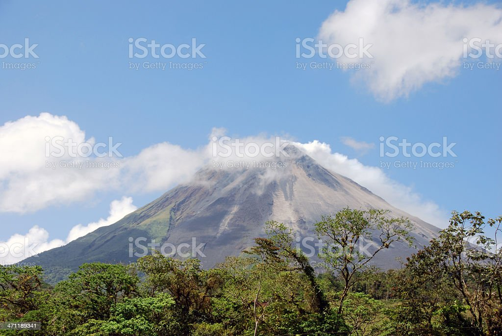 Volcano through the Clouds stock photo