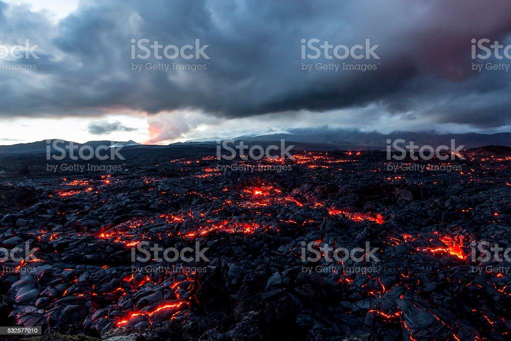 Volcano Tolbachik. Lava fields stock photo