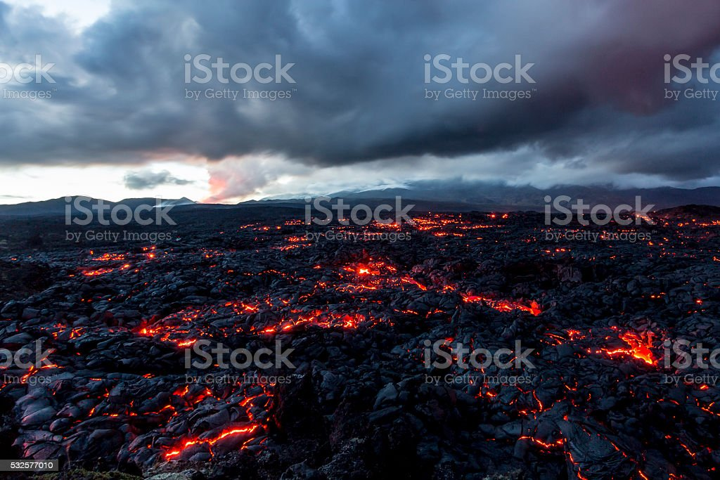 Volcano Tolbachik. Lava fields stock photo