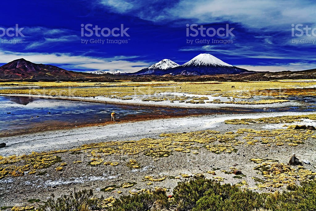 Volcanoes in the Andes, Chile stock photo