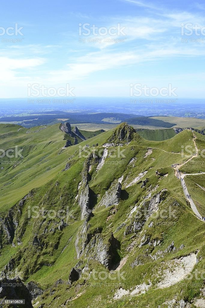 volcanoes of Auvergne in France stock photo