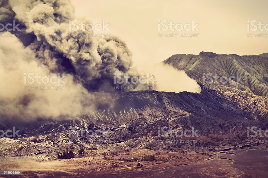 Volcanoes of Bromo National Park, Indonesia stock photo