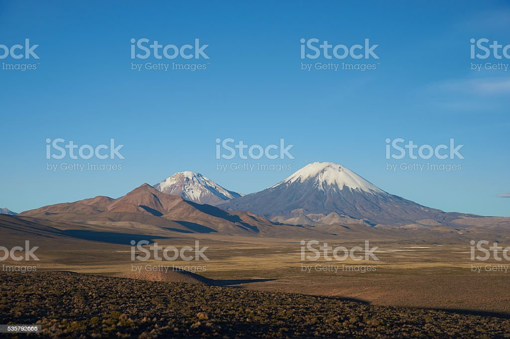 Volcanos on the Altiplano stock photo