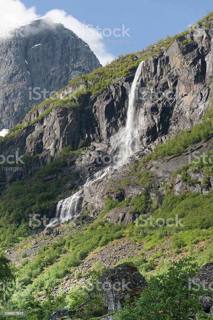 Volefossen Waterfall, Olden - Norway stock photo