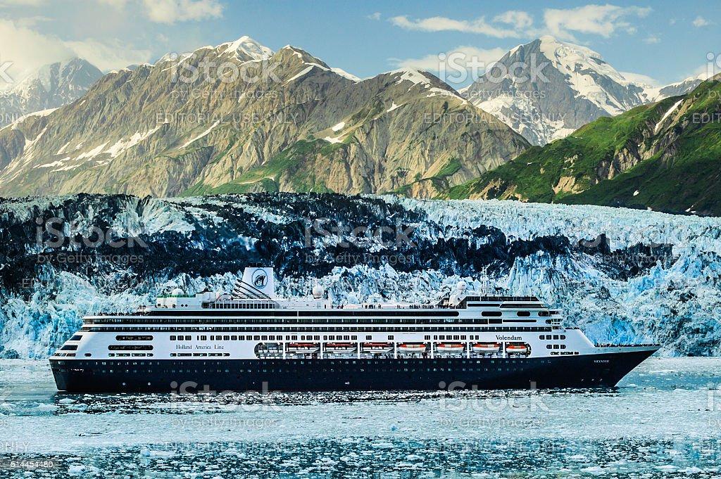 MS Volendam at Hubbard Glacier stock photo