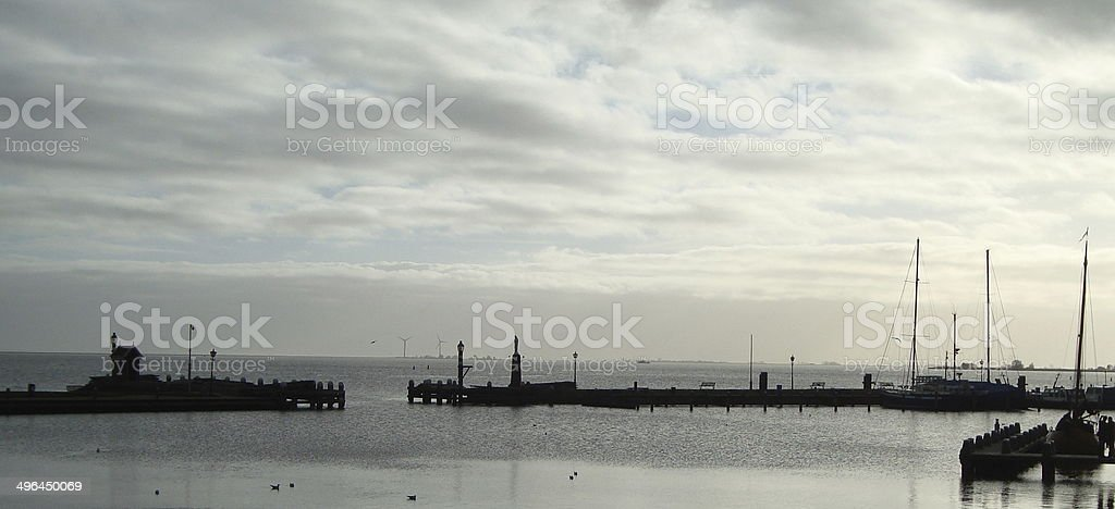 Volendam harbour evening stock photo