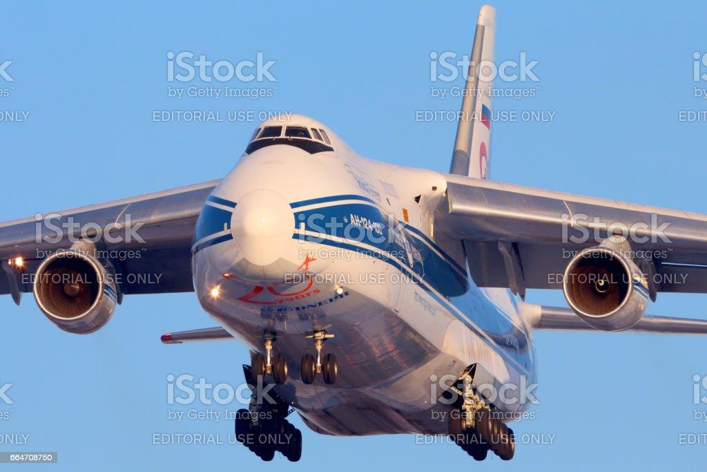 Volga-Dnepr Antonov An-124 landing at Sheremetyevo international airport. stock photo