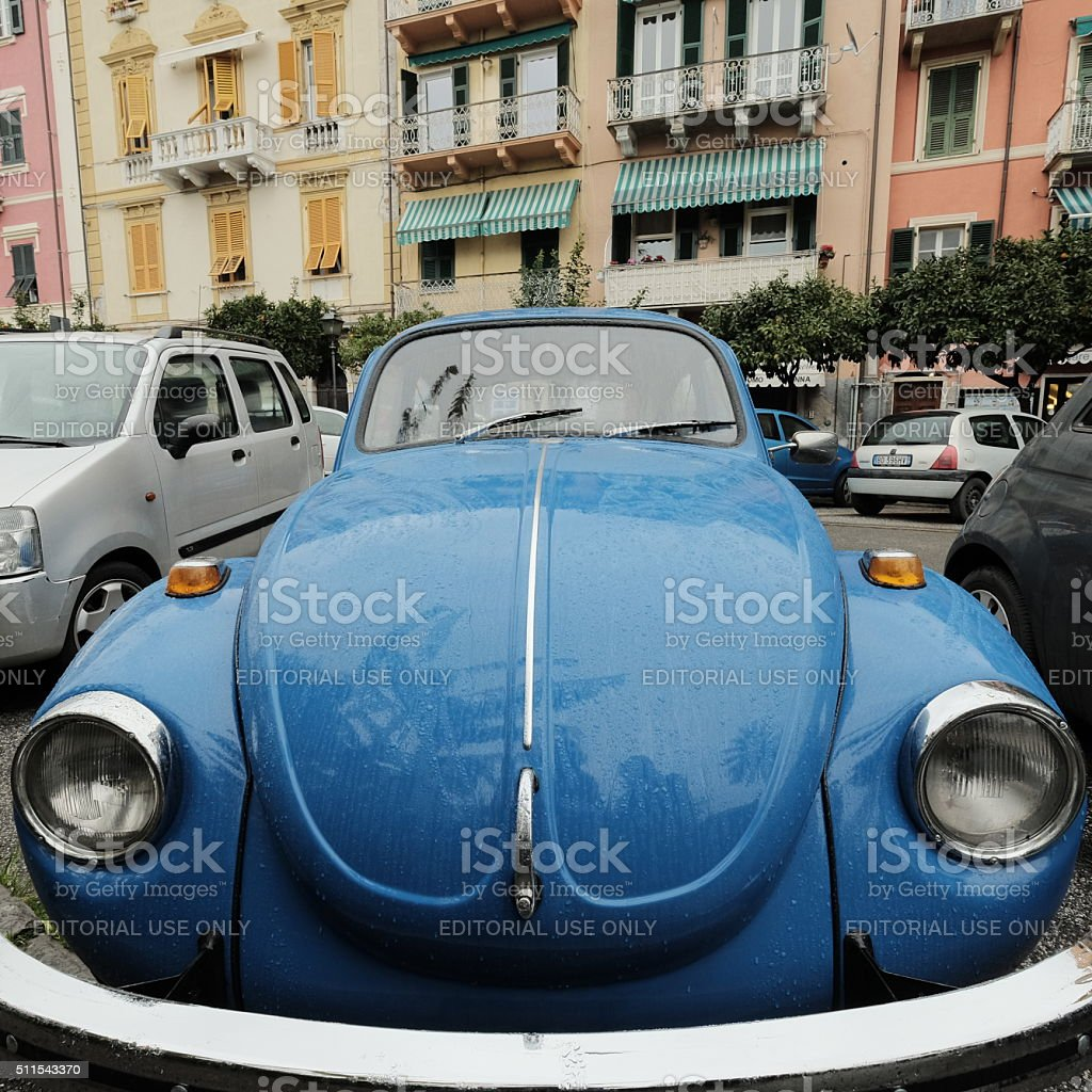 Volkswagen Beetle car parked in gorgeous Italian town stock photo