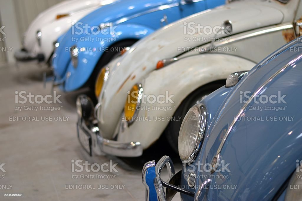Volkswagen Beetle classic cars in a row stock photo