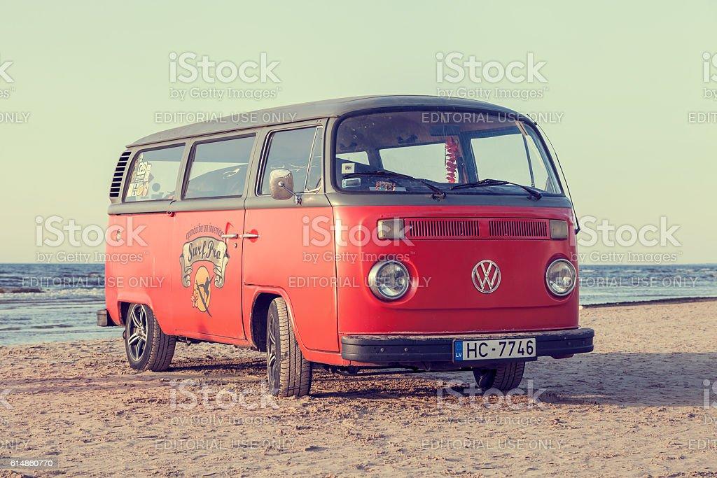 Jurmala, Latvia - May 28, 2016: volkswagen bus on beach stock photo