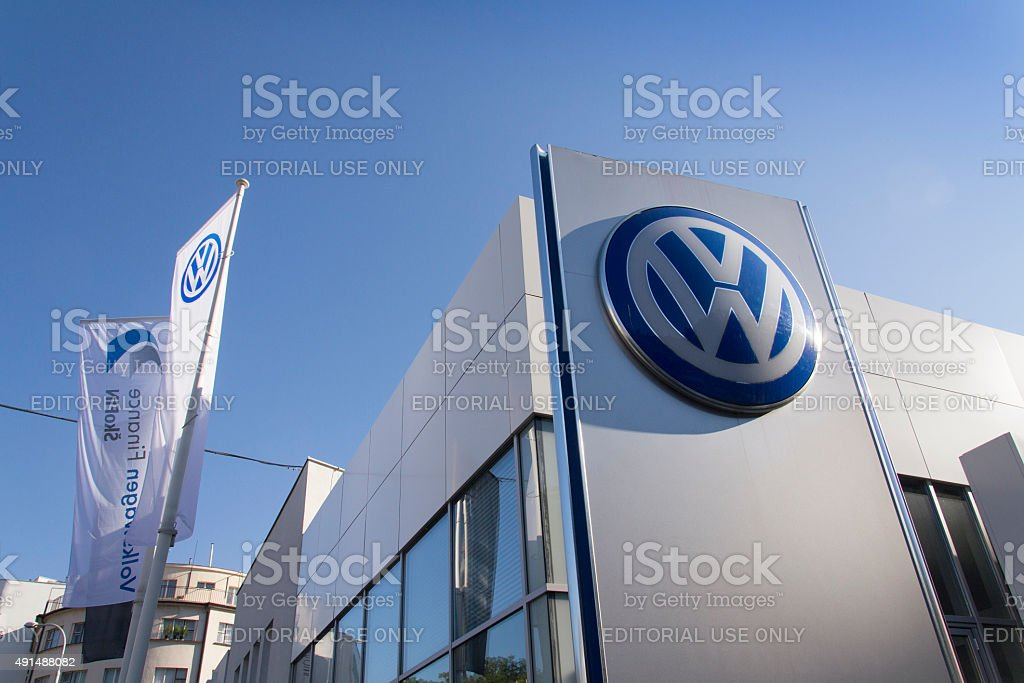 Volkswagen car maker logo on a building of czech dealership stock photo