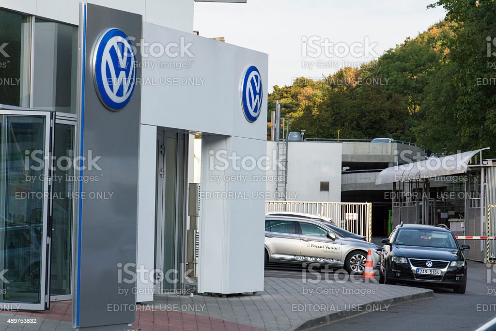 Volkswagen carmaker logo on a building of czech dealership stock photo